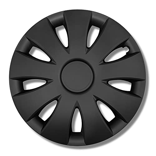Radkappen schwarz matt 16 Zoll - Radzierblenden für Stahlfelgen - Alufelgen Look Radblenden Für die meisten Marken und Felgen - Europäisches Produkt aus recyceltem Kunststoff - 4er Set Zierkappen