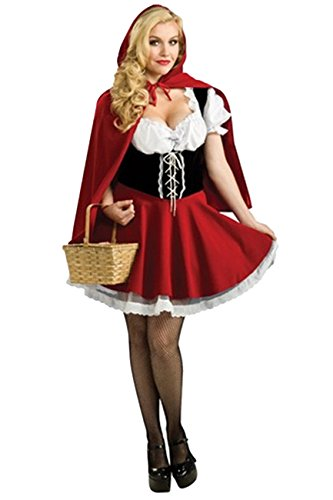 ShallGood Costume Carnevale Halloween Cappellaio Donna Sexy Cappuccetto Cosplay Set Rosso