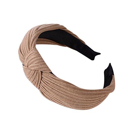 Demarkt 1 Pcs Bandeau bande de Cheveux en alliage traverser Tissu Elastique Serre-têtes Extensible Hairband Pour Femme Filles Bijoux Mariage Maquillage Fête Décoration Headband (Kaki)