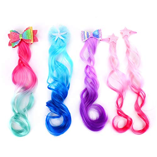 12' Ombre Curly Hair Extensions with Bow Clips Colored Unicorn Mermaid Fake Hair Accessories Easter Gifts 4 Pack