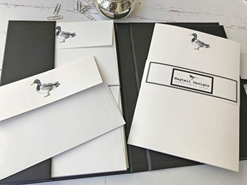 Wagtail Designs Briefpapier Geschenkset Ente Illustration in einer schönen schwarzen Mappe mit Schleife (18 Blatt hochwertiges Briefpapier mit passenden Umschlägen)