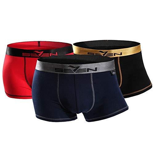 Seven Brand Men's Underwear Boxer Briefs Cotton Regular Long Mens Boxer Briefs Underwear Men 3-Pack (175)
