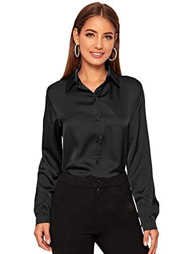 DIDK Damen Langarm Bluse Satin Oberteil Tunika Büro Shirts Elegant Tops Knopfleiste Hemd Oberteile Hemdbluse Einfarbig Stehkragen Schwarz M