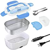Electric Lunch Box Portable Food Warmer Heater 2 In 1 for Car and Home 110V 12V 1.5L Removable Easy to Clean Stainless Steel Container,Spoon, Small Plastic Box for Fruit Sauce (Blue)