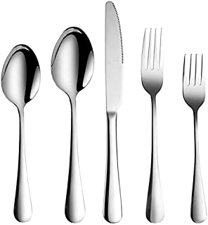 20 Pieces, Stainless Steel Silver knife,spoons and forks (Silver)