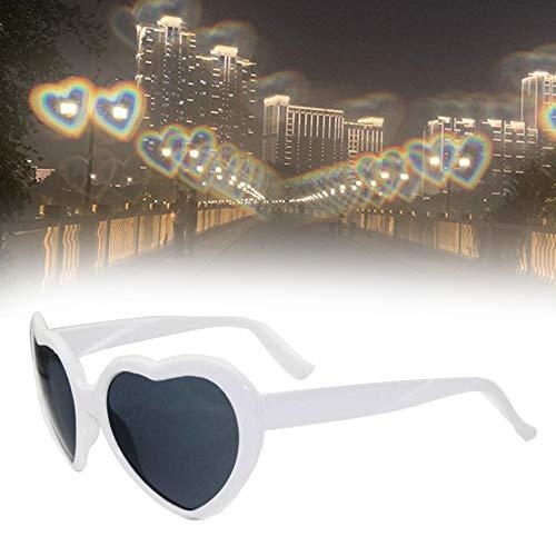 DHHSUK Herz-Effekt-Beugungsbrille, 3D-Herz-Feuerwerk-Brille, herzförmige Effektbrille, Fashion Rave-Brille für Männer und Frauen (White)