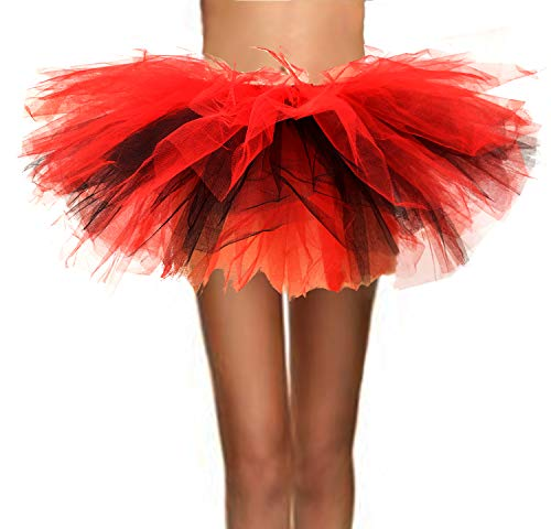 T-Crossworld Women's Classic 5 Layered Puffy Mini Tulle Tutu Bubble Ballet Skirt Black and Red Small