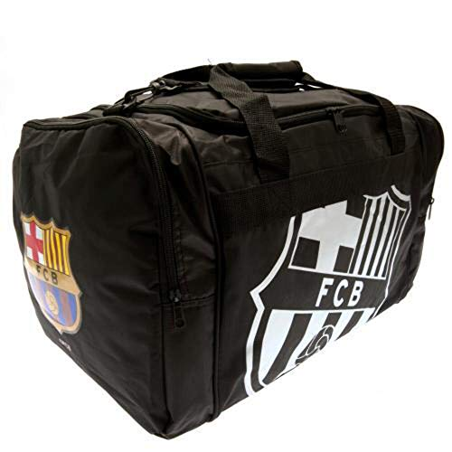 Barcelona Football Club Black And Chrome Official Holdall Gym Bag Team Crest Badge
