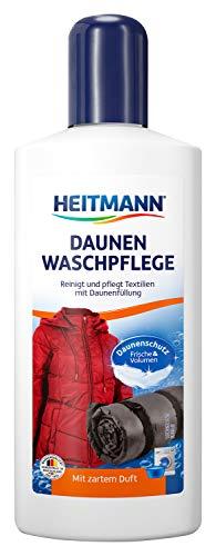 Heitmann Daunen Wäsche: reinigt und pflegt Textilien mit Daunenfüllung, für Frische und Volumen mit zartem Duft, ideal für die schonende Reinigung von Daunen-Jacken, Federkissen, Federbetten, 250ml