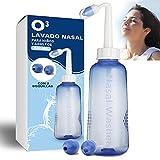 O³ Lavado Nasal 500 ml Con 2 Boquillas Para Bebes Y Adultos Para Irrigación Nasal - Limpiador Nasal | Alivia Alergia - Resfriado - Rinitis | Irrigador Nasal Tratamiento Que Mejora Ronquidos Y El Sueño