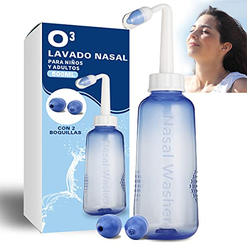 O³ Lavado Nasal 500 ml Con 2 Boquillas Para Bebes Y Adultos Para Irrigación Nasal - Limpiador Nasal   Alivia Alergia - Resfriado - Rinitis   Irrigador Nasal Tratamiento Que Mejora Ronquidos Y El Sueño
