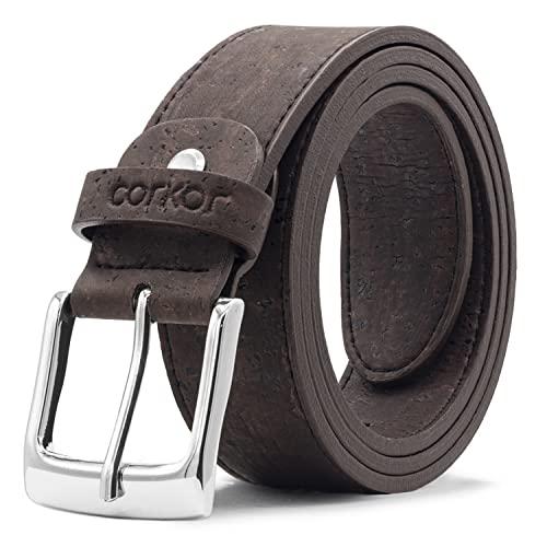 Corkor Cintura Da Uomo Prodotti Vegani di Sughero Naturale Marrone Taglia M