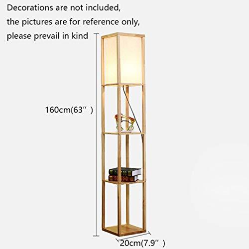 Jixi Staande lamp, led-kast, staande lamp, houten frame, hoog licht, geheugen, display, planken, moderne E27 vloerlamp voor woonkamer, slaapkamer