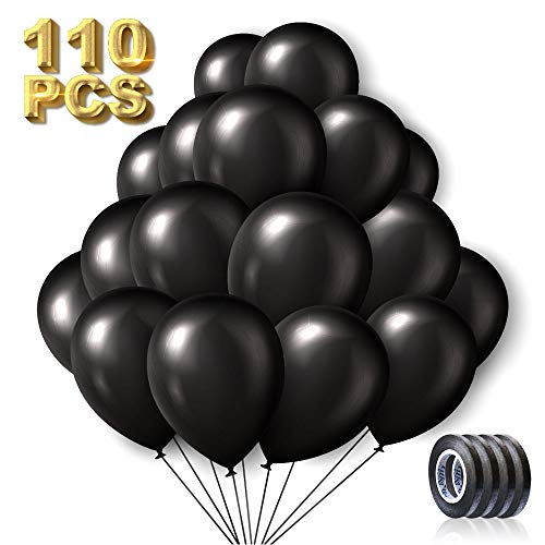 110PCS Black Balloons 12 Inch Black Latex Balloons w/Ribbon Helium Party Balloons Bulk for Birthday Wedding Baby Shower Graduation Parties Supplies or Arch Decorations