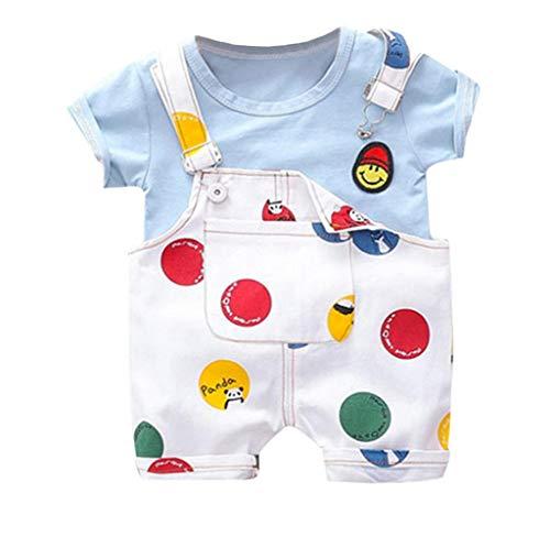 Jimmackey- Bambina Ragazzi Manica Corta Camicia Faccia Sorridente Stampa T-Shirt +Bretelle Pantaloni Abbigliamento Neonato Maschio 2PC Abiti Set