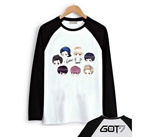 Fanstown Kpop GOT7 Tshirt Black Shoulder Member Cartoon Signature Long Sleeve Shirt #1
