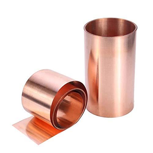 Lot de 2 plaques de cuivre en métal - Ruban en feuille de cuivre - Feuille fine en métal pour travaux manuels - 0,01 x 10 cm x 1 m