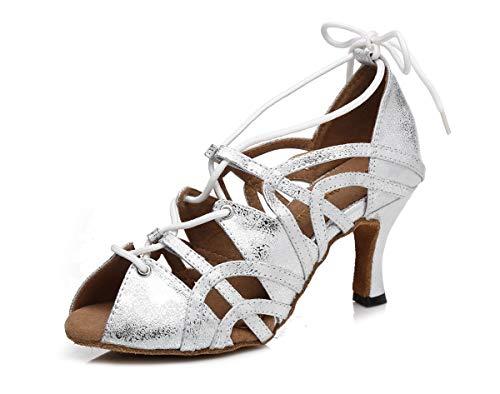 Hanfike Tacones altos de encaje para las mujeres Peep Toe Zapatos de fiesta, Silver, 40 EU