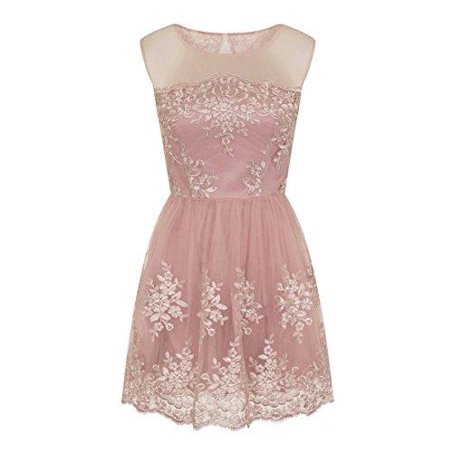 チチロンドン トップス ワンピース Embroidered Mini Dress pink [並行輸入品]