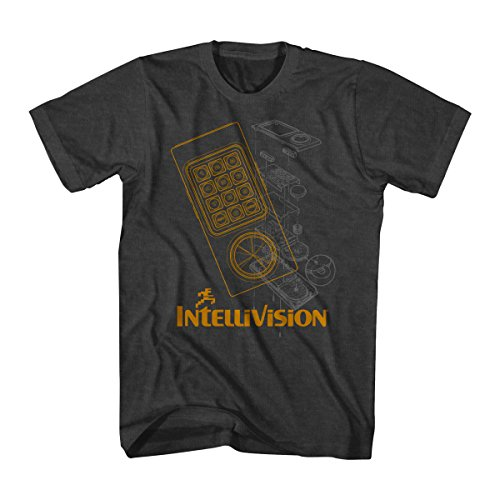 Intellivision Intelligent TV Video Game Controller Adult T-Shirt Tee Tee - Schwarz - Klein