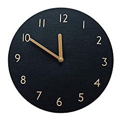 thehaki Decorative Wall Clock Silent & Non-Ticking Quartz Clock PU Leather Lightweight 0.4lb Round 9 (Black)