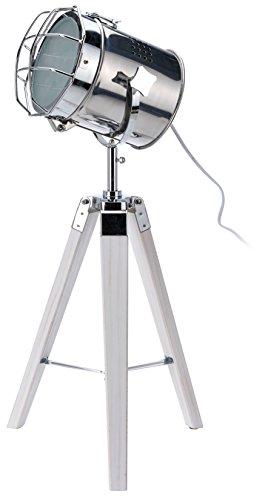 Stehlampe Spotlight auf Holz - Dreibein 64 cm silberner Spot