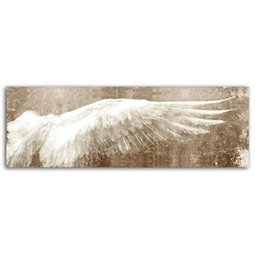 SQSHBBC Drucken Engelsflügel auf der Leinwand Retro Feder Poster Drucken Schwarz und Weiß Wandkunst Leinwand Malerei Flügel Pop Art Wandbild 70x210cm Ungerahmt