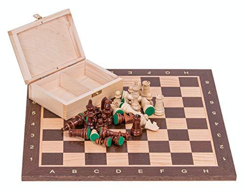 Square - Profesional Ajedrez de Madera Nº 4 - WENGE - Tablero de ajedrez + Figuras - Staunton 4