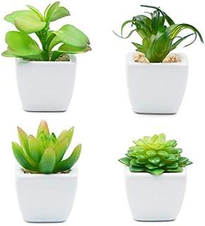 TOSSOW 人工多肉植物 ミニ 人工観葉植物 枯れない インテリア 4点セット 正方形 プレゼント