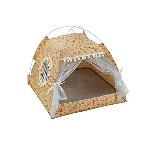 Aqiong KAERMA Pet Cozy House Small Medium Hond Kat Opvouwbare bed Cat House Puppy Kitten Bed Dieren Home Producten Huisdier Ademende binnentent Huisdieraccessoires (maat: Yellow L)