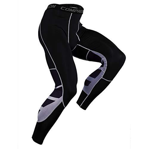Celucke Sport Leggings Herren Laufhose Lang Kompressionshose mit Print für Fitness, Training, Radfahren, Yoga, Wandern, Männer Compression Tights Atmungsaktiv Quick Dry (Grau, L)