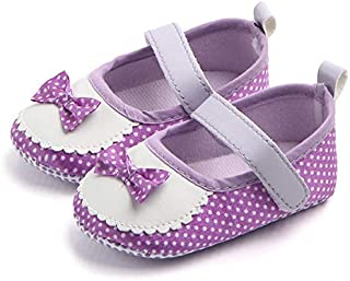 Mishlee Baby Girl Shoes,Dot and Bow Knot Design Soft Sole- Polka Dot