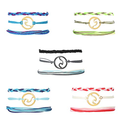 Bolonbi FRIUSATE 15 Pieces Wave Bracelet, Adjustable Braided Rope Bracelet Waterproof Bracelet Set Surfer Bracelet Friendship Bracelet for Women Girl