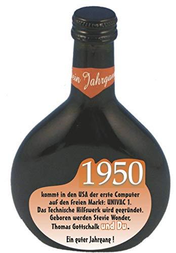 QUATSCHmanufaktur Bocksbeutel zum 70. Geburtstag (fürJahrgang 1950) Rotwein 0,25 l