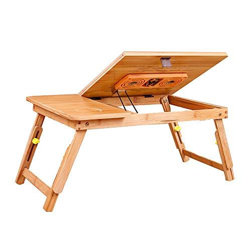 Home Beistelltische Klappbarer Laptop-Tisch Schreibtisch Verstellbarer Tragbarer Pc Desktop Notebook Ständer Sofa Schreibtisch Bambus Bett Tablett mit Ventilator, BOSS LV, 75 * 35 cm