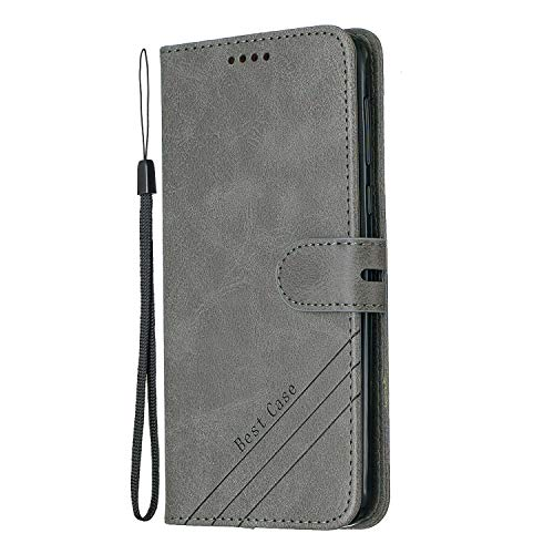 Hülle für [Moto G6 Plus] Hülle Handyhülle [Standfunktion] [Kartenfach] [Magnetverschluss] Tasche Etui Schutzhülle lederhülle klapphülle für Motorola Moto G6Plus - JEHX010541 Grau
