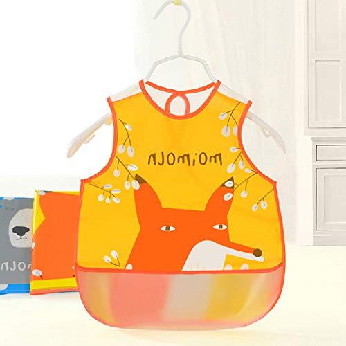 Lyguy Apron, Baby Bib Schort Mouwloze Kleding Eva Waterdichte Cartoon Kid Feeding Voedsel Pocket Oranje