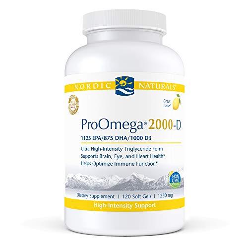 Nordic Naturals ProOmega 2000-D, Lemon Flavor - 2150 mg Omega-3 + 1000 IU D3 - Ultra High-Potency Fish Oil - EPA & DHA - Brain, Heart, Joint, & Immune Health - 120 Soft Gels (60 Servings)