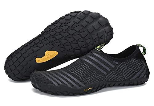 SAGUARO  Barfussschuhe Herren Damen Sommer Atmungsaktiv Badeschuhe rutschfest Aquaschuhe Outdoor Trekking Sprort Schuhe Slip On, 42 EU, Schwarz