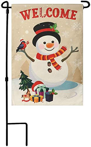 Home Decorative Merry Christmas Cardinal Garden Flag and Pole, Winter Snowman Double Sided, House Yard Flag for Xmas, Outside Animals Yard Decorations, Vintage Seasonal Outdoor Flag 12 x 18 inch