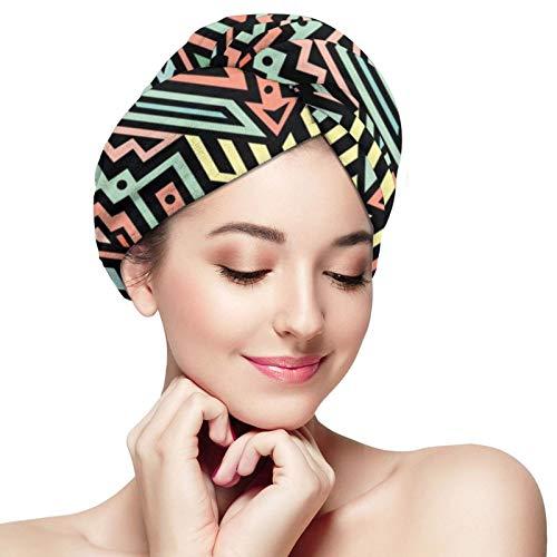 Toalla de secado rápido para el cabello, estilo étnico, turbante de cabeza súper absorbente, para ducha, spa, sauna, playa, gimnasio