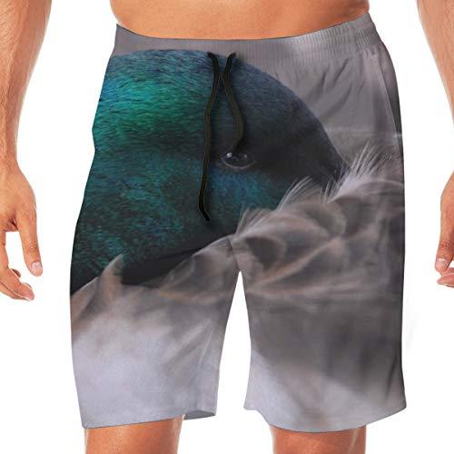 LiBei Herren Quick Dry Beach Shorts Elastische Taille Badehose Badeanzug Eine süße lustige Stockente Ente M.