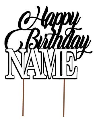 All About Details Customized Happy Birthday Cake Topper With AGE & NAME (D3)