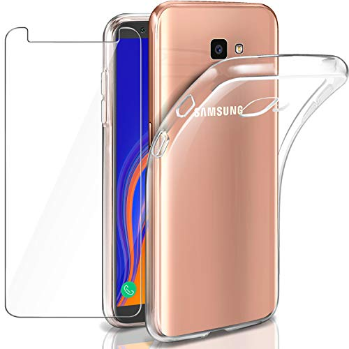 "Leathlux Funda + Protector de Pantalla para Galaxy J4 Plus, Transparente TPU Silicona [Funda + Cristal Templado] Ultra Fino Vidrio Templado 9H Dureza HD para Samsung Galaxy J4 Plus - 6.0"""