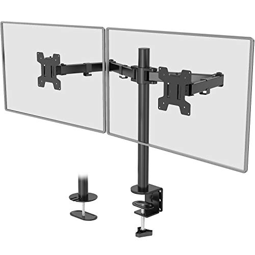 WALI Dual LCD Monitor Fully Adjustable Desk Mount Stand Fits 2 Screens up to 27 inch, 22 lbs. Weight...