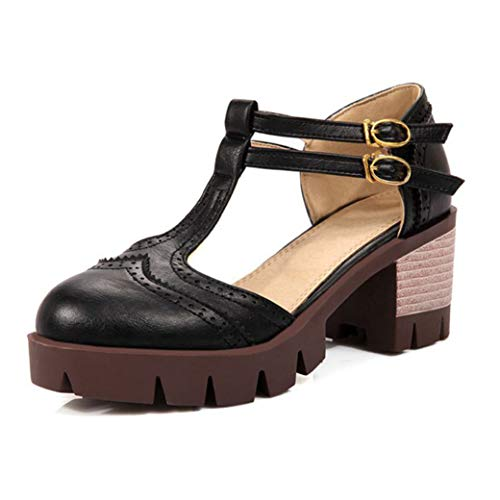 Women's Round Toe Platform Shoes T-Strap Buckle Chunky Heel Mary Jane Pumps Oxford Dress Shoes Black