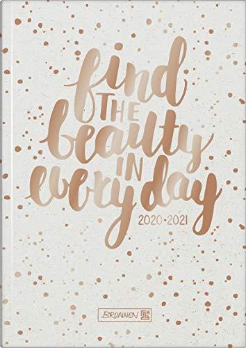 "Brunnen 1072120171 ""Gold Glitter"", Wochenkalender/Schülerkalender 2020/2021, 2 Seiten = 1 Woche, Blattgröße 14,8 x 21 cm, A5, Hardcover-Einband wattiert"
