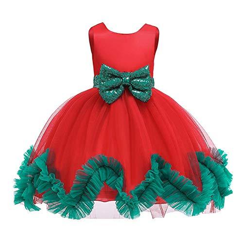 IMEKIS Vestido de Navidad para niñas sin mangas, con lentejuelas, con lazo, falda tutú, boda, fiesta de cumpleaños, desfiles, baile formal, vestido de baile de princesa, disfraz de espectáculo