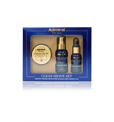 Admiral Clean Shave Set: Pre Shave Oil, Shaving Cream, Moisture Balm