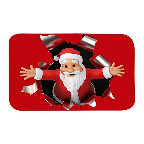 Weihnachten Fußmatten Santa Claus Print Niedlich Rutschfest Langlebig Waschbar Lustig Home Dekorativ Willkommen Fußmatten Teppiche für Eingangsbad Schlafzimmer Badezimmer Küche